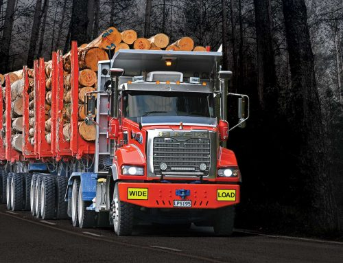 Mills-Tui trailers carrying a mighty load of logs